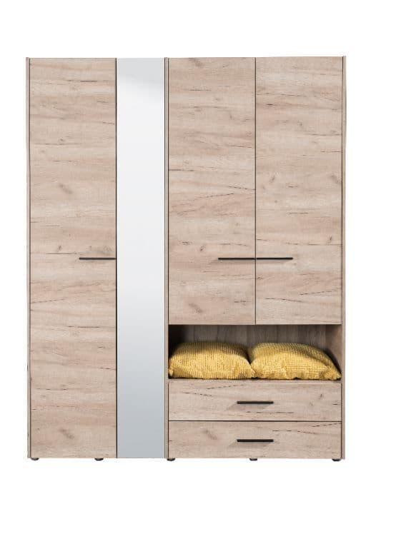 Althena 4 Door Grey Oak Wardrobe With An Open Shelf And Drawers